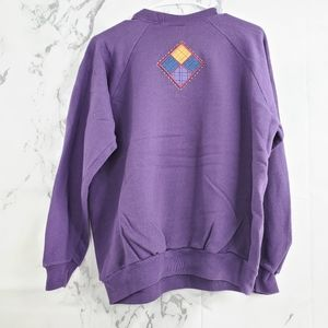 Vintage Crew Neck Embroidered Pullover Sweater